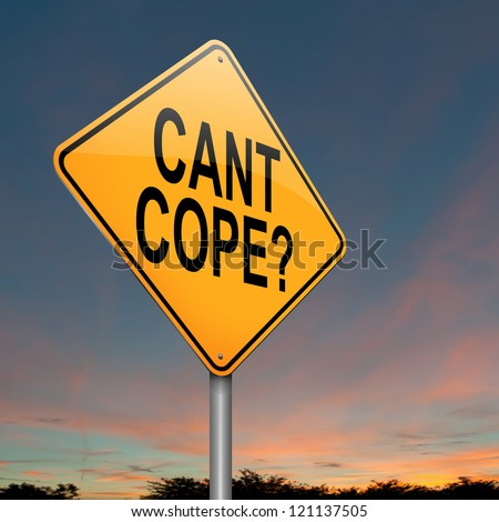 Illustration depicting a roadsign with a cant cope concept. Sunset sky background.