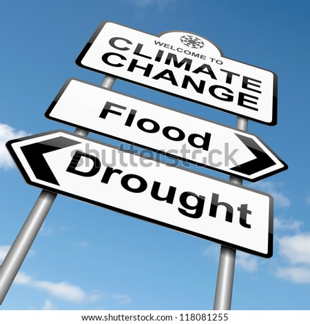 Illustration depicting a roadsign with a climate change concept. Sky background. - stock photo