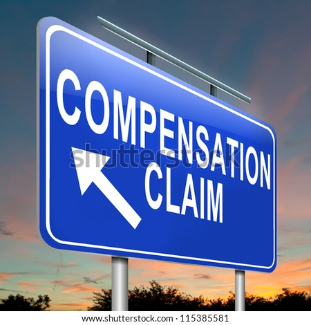 Illustration depicting a roadsign with a compensation claim concept. Dusk sky background. - stock photo