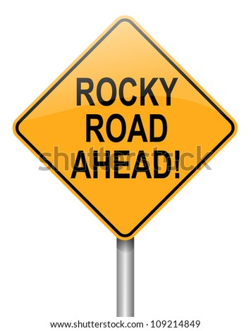 Illustration depicting a roadsign with a difficulty concept. White  background. - stock photo