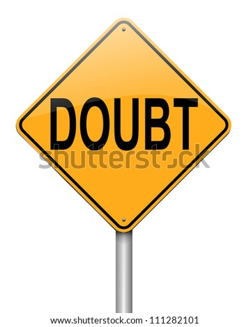Illustration depicting a roadsign with a doubt concept. White  background. - stock photo