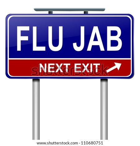 Illustration depicting a roadsign with a flu jab concept. White background.
