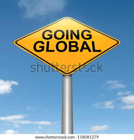 Illustration depicting a roadsign with a going global concept. Sky background. - stock photo