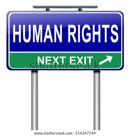 Illustration depicting a roadsign with a human rights concept. White background.
