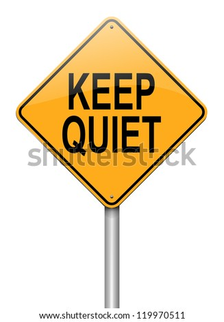 Illustration depicting a roadsign with a keep quiet concept. White background. - stock photo
