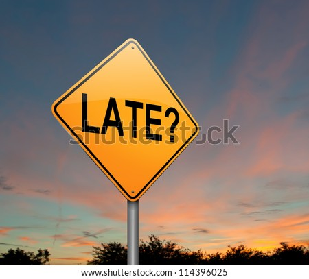 Illustration depicting a roadsign with a late concept. Dusk background. - stock photo