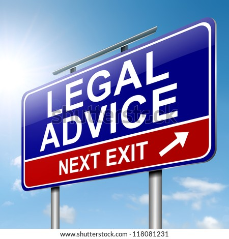Illustration depicting a roadsign with a legal advice concept. Sky background.