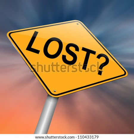 Illustration depicting a roadsign with a lost concept. Abstract background. - stock photo