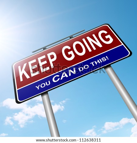 Illustration depicting a roadsign with a motivational concept. Sky background. - stock photo
