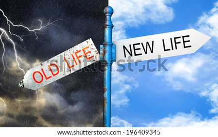 Illustration depicting a roadsign with a old life, new life concept. - stock photo