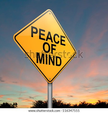 Illustration depicting a roadsign with a peace of mind concept. Dusk sky background. - stock photo