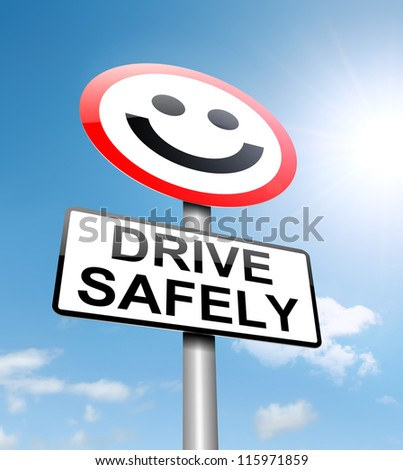 Illustration depicting a roadsign with a safe driving concept. Sky background. - stock photo