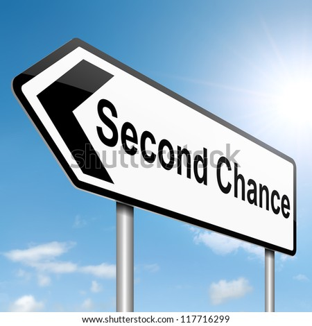 Illustration depicting a roadsign with a second chance concept. Sky background. - stock photo