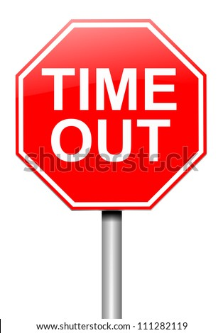Illustration depicting a roadsign with a time out concept. White  background. - stock photo