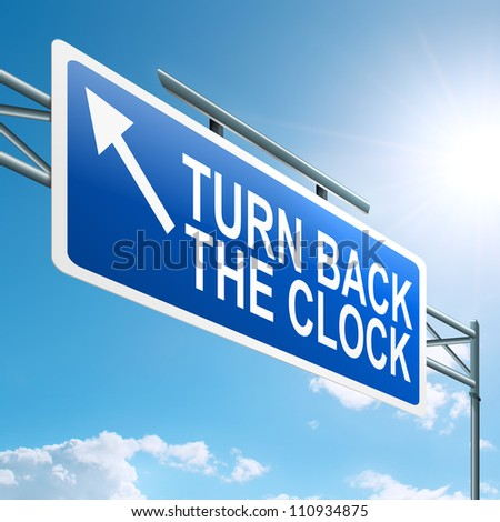 Illustration depicting a roadsign with a turn back the clock concept. Blue sky background.
