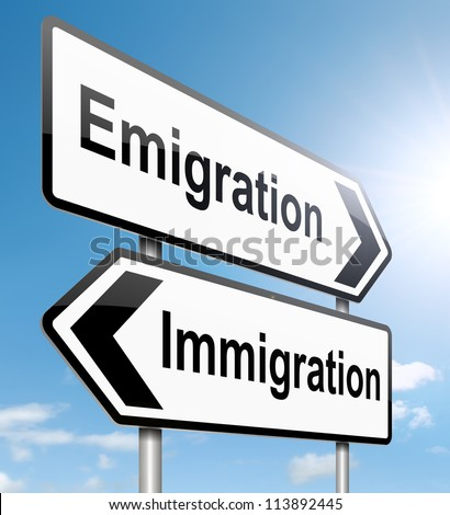 Illustration depicting a roadsign with an emigration or immigration concept. Sky background. - stock photo