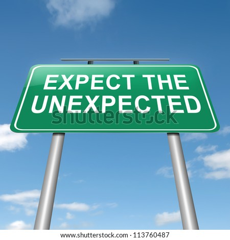 Illustration depicting a roadsign with an 'expect the unexpected' concept. Sky background.