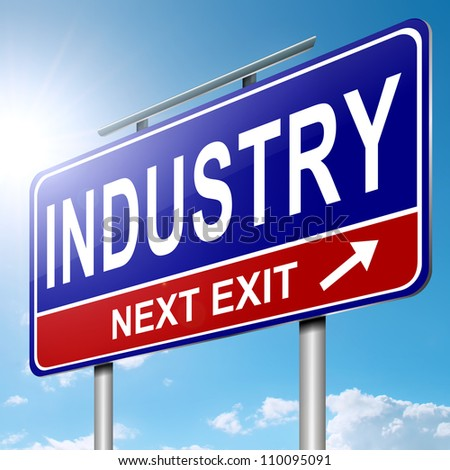 Illustration depicting a roadsign with an industry concept. Blue sky with sunlight background.