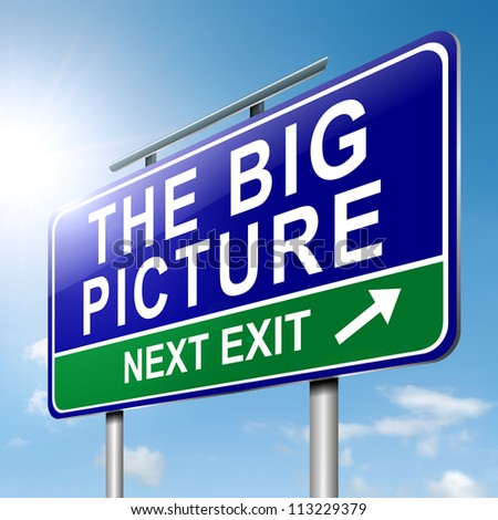 Illustration depicting a roadsign with  'the big picture' concept. Sky background. - stock photo