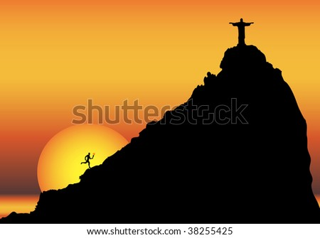 Illustration depicting a runner bringing the Olympic torch to Rio de Janeiro, with copy space. - stock photo