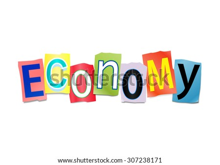Illustration depicting a set of cut out printed letters arranged to form the word economy. - stock photo