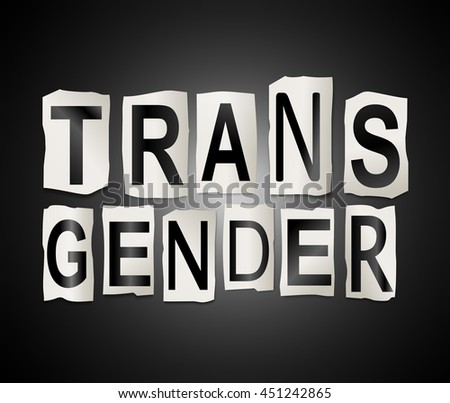 Illustration depicting a set of cut out printed letters arranged to form the word transgender. - stock photo
