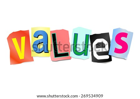 Illustration depicting a set of cut out printed letters arranged to form the word values. - stock photo