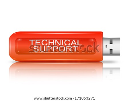 Illustration depicting a set of cut out printed letters formed to arrange the words tecnical support. - stock photo
