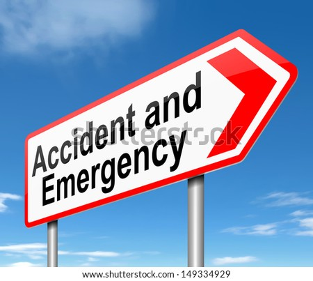 Illustration depicting a sign directing to Accident and Emergency.