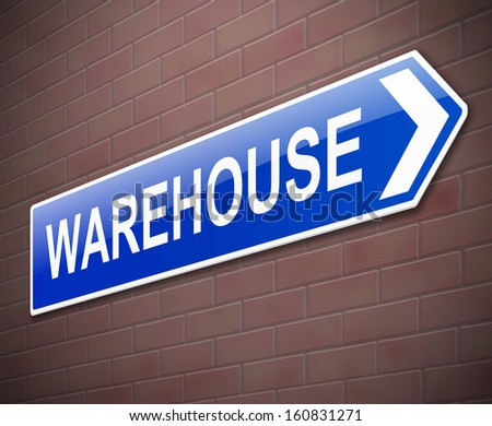 Illustration depicting a sign directing to Warehouse.
