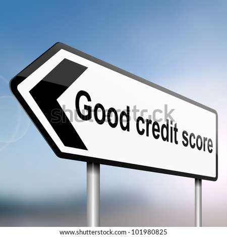 illustration depicting a sign post with directional arrow containing a credit score concept. Blurred background. - stock photo