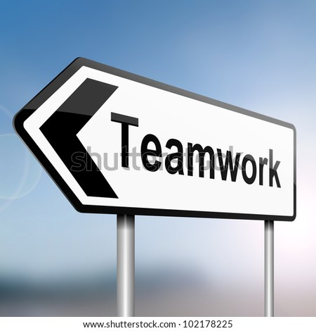 illustration depicting a sign post with directional arrow containing a teamwork concept. Blurred background. - stock photo