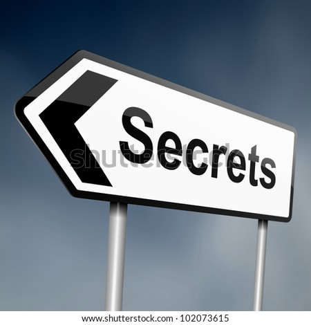 illustration depicting a sign post with directional arrow containing asecrets concept. Blurred background.
