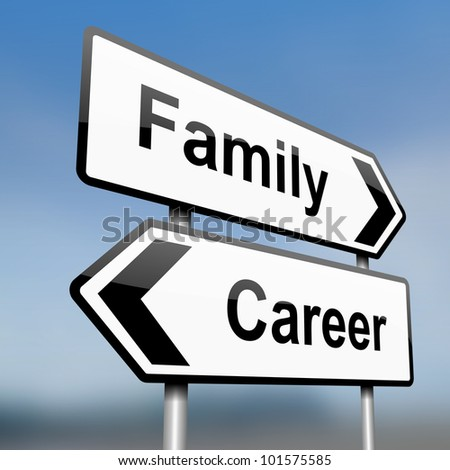 illustration depicting a sign post with directional arrows containing a career or family concept. Blurred background. - stock photo