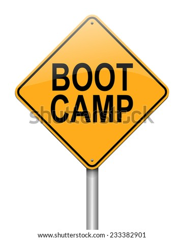 Illustration depicting a sign with a boot camp concept. - stock photo