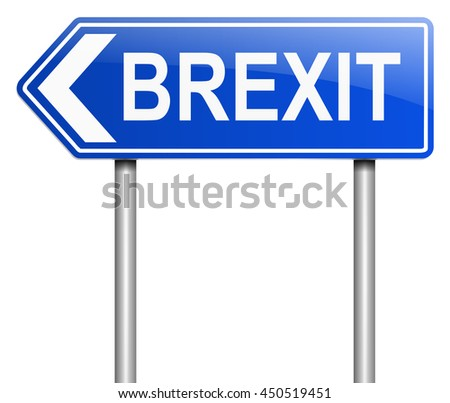 Illustration depicting a sign with a Brexit concept. - stock photo
