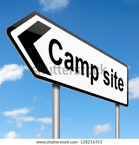 Illustration depicting a sign with a camping concept.