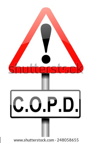 Illustration depicting a sign with a chronic obstructive pulmonary disease concept. - stock photo