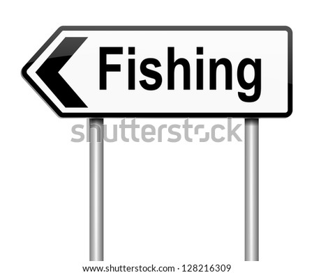 Illustration depicting a sign with a fishing concept. - stock photo