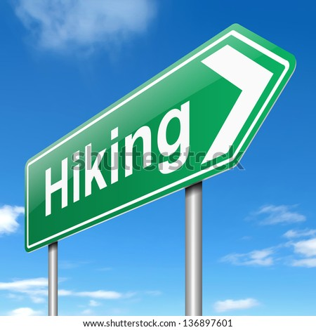Illustration depicting a sign with a hiking concept.