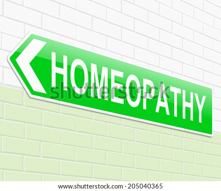 Illustration depicting a sign with a Homeopathy concept. - stock photo