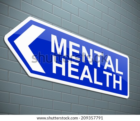 Illustration depicting a sign with a mental health concept. - stock photo