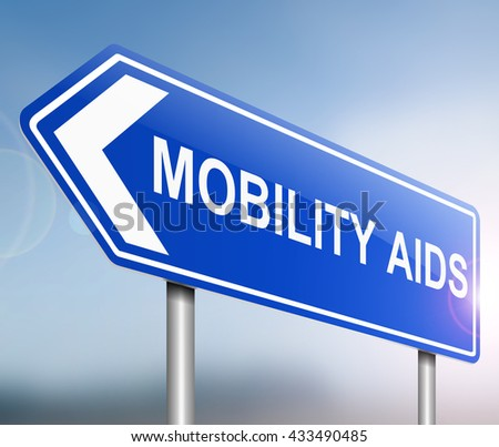 Illustration depicting a sign with a mobility aids concept. - stock photo