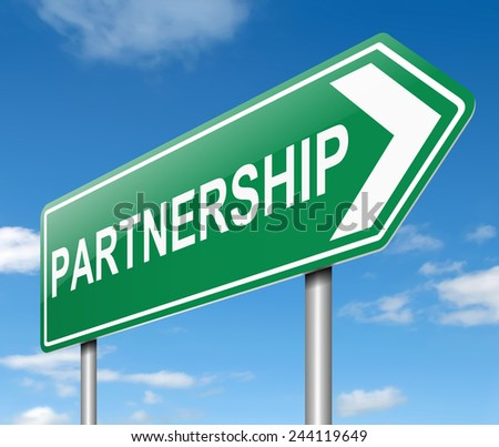 Illustration depicting a sign with a partnership concept. - stock photo
