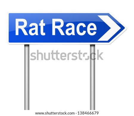 Illustration depicting a sign with a rat race concept. - stock photo