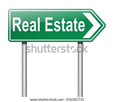 Illustration depicting a sign with a Real Estate concept. - stock photo