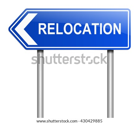 Illustration depicting a sign with a relocation concept. - stock photo