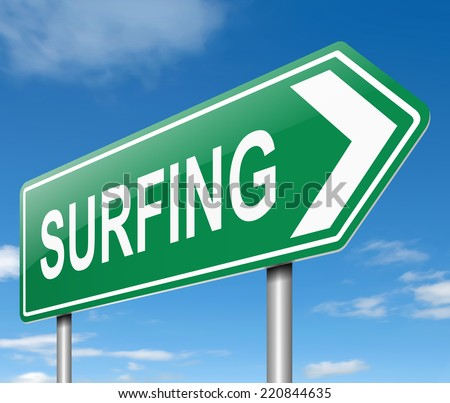 Illustration depicting a sign with a surfing concept.