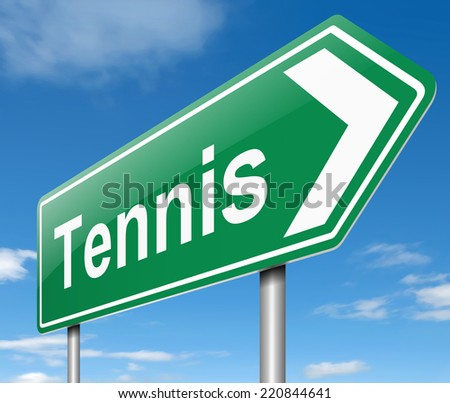 Illustration depicting a sign with a tennis concept.
