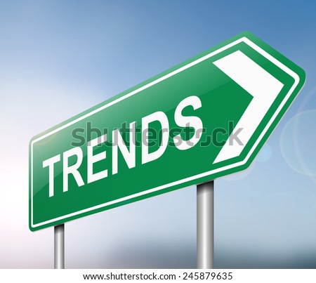 Illustration depicting a sign with a trends concept.